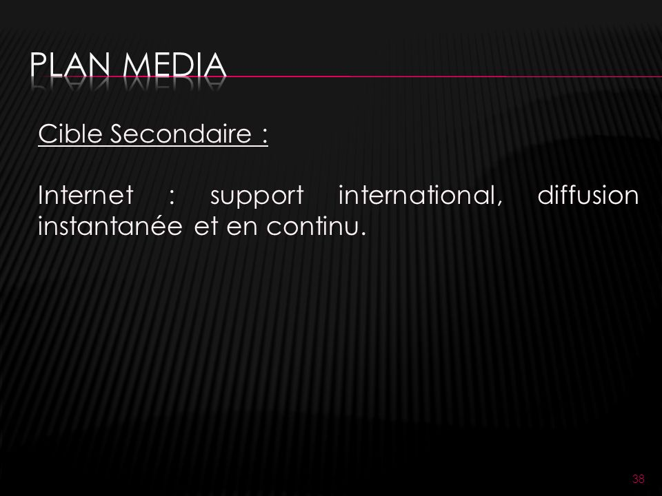 38 Cible Secondaire : Internet : support international, diffusion instantanée et en continu.