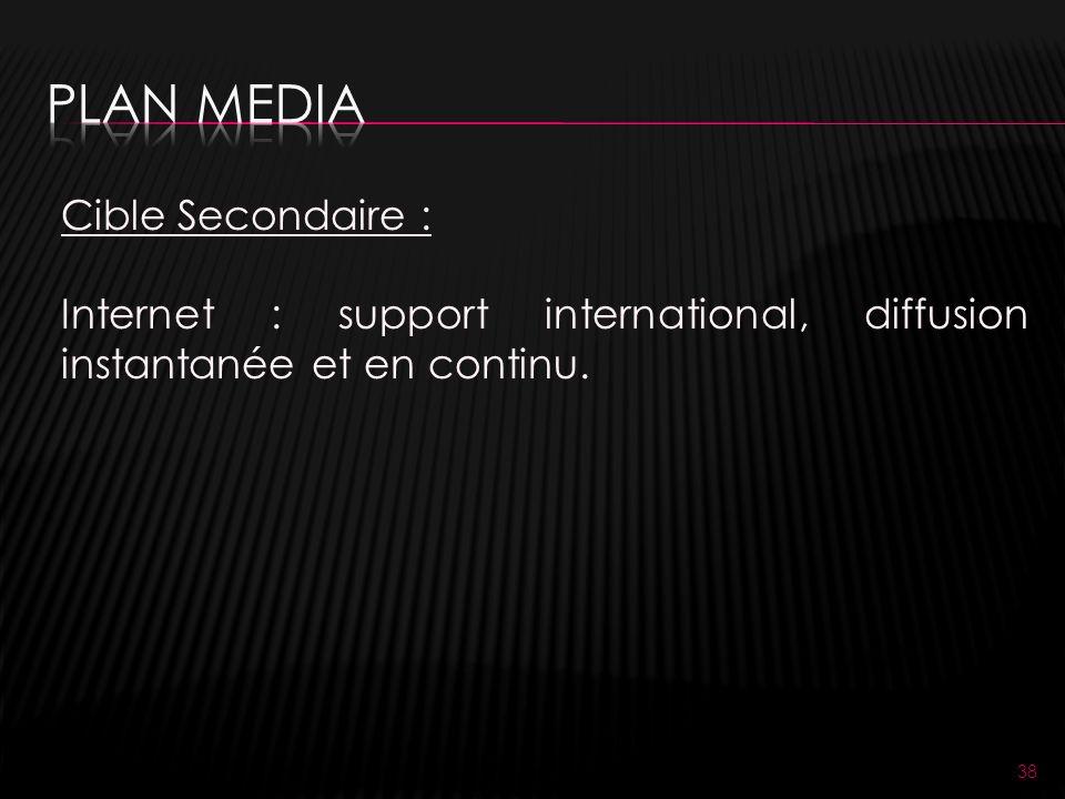 38 Cible Secondaire : Internet : support international, diffusion instantanée et en continu.