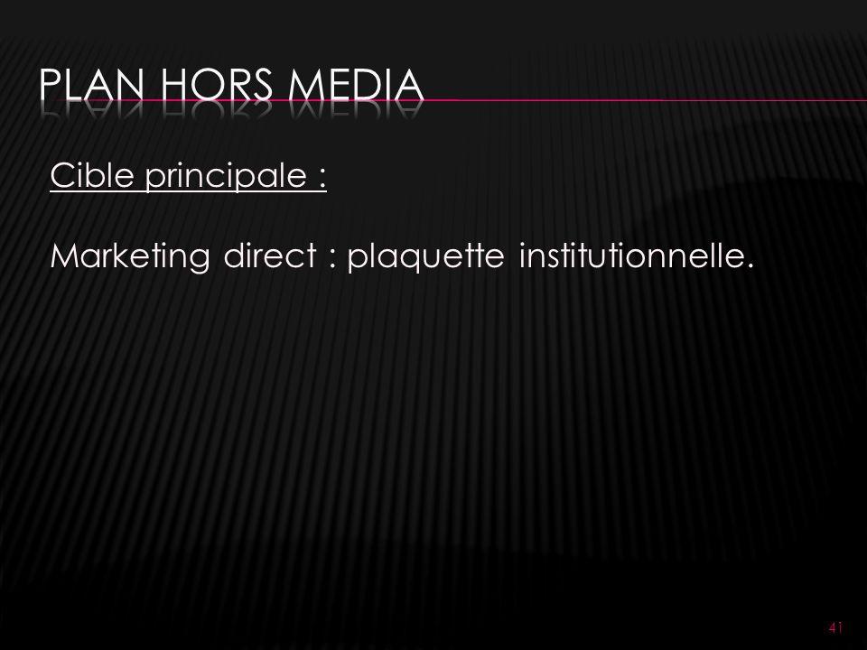 41 Cible principale : Marketing direct : plaquette institutionnelle.