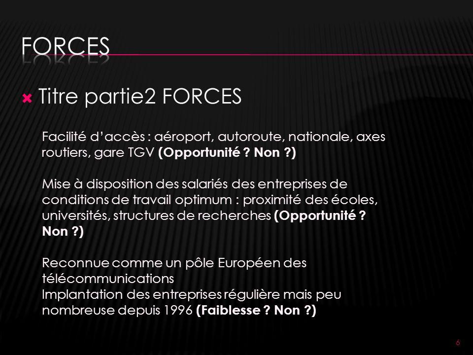 Titre partie2 FORCES 6 Facilité daccès : aéroport, autoroute, nationale, axes routiers, gare TGV (Opportunité .