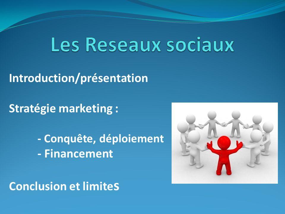 Introduction/présentation Stratégie marketing : - Conquête, déploiement - Financement Conclusion et limite s