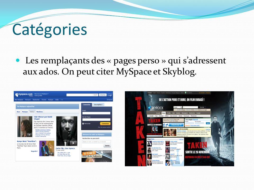 Catégories Les remplaçants des « pages perso » qui sadressent aux ados.