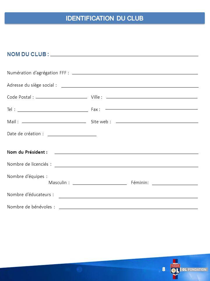 NOM DU CLUB : Numération dagrégation FFF : Adresse du siège social : Code Postal : Ville : Tel : Fax : Mail :Site web : Date de création : Nom du Prés