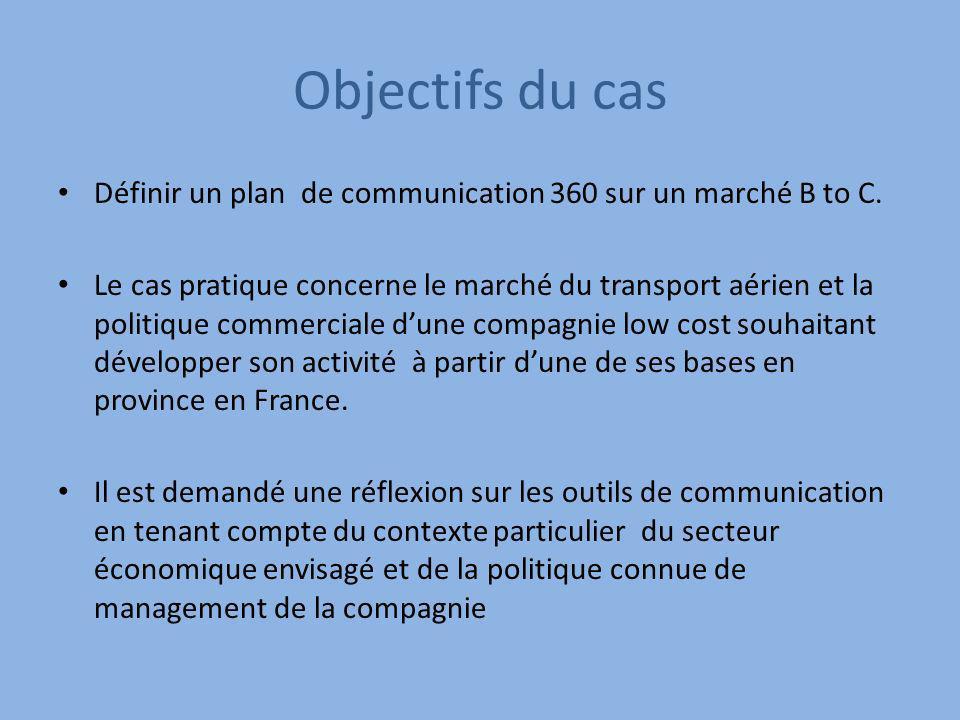 Objectifs du cas Définir un plan de communication 360 sur un marché B to C. Le cas pratique concerne le marché du transport aérien et la politique com