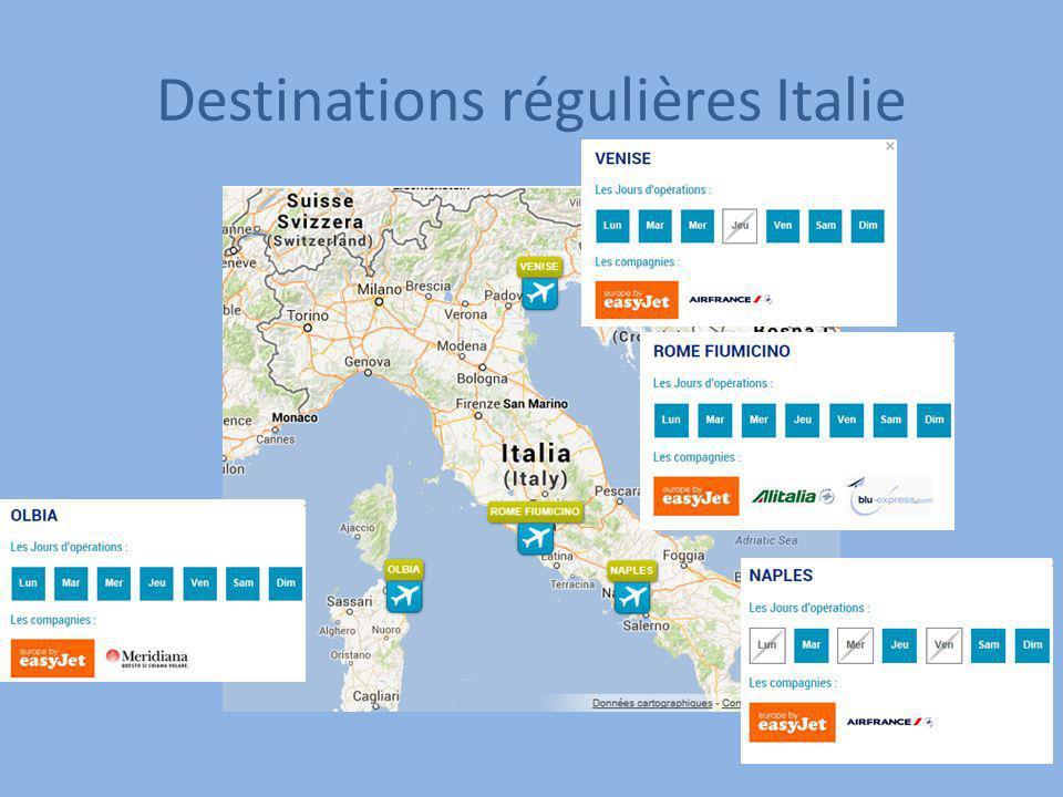 Destinations régulières Italie