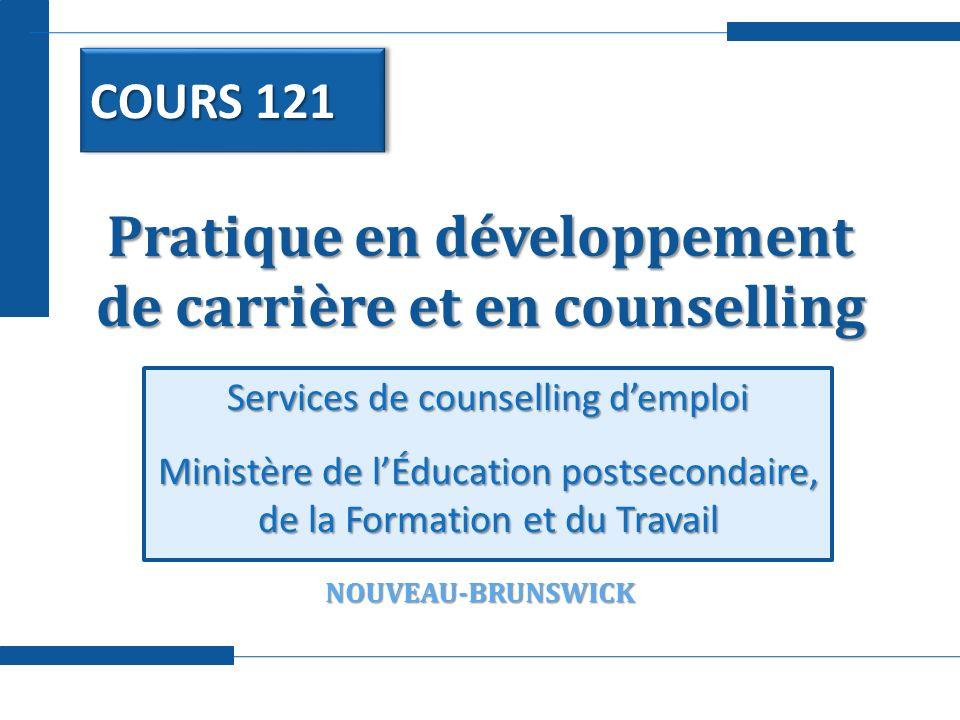 Pratique en développement de carrière et en counselling Services de counselling demploi Ministère de lÉducation postsecondaire, de la Formation et du