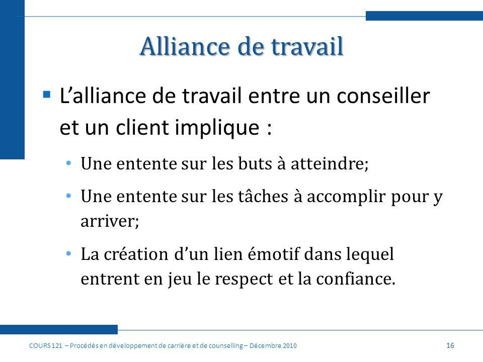 Alliance de travail Lalliance de travail entre un conseiller et un client implique : Une entente sur les buts à atteindre; Une entente sur les tâches