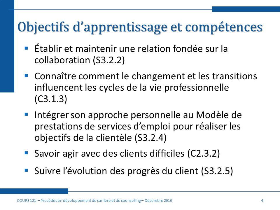 Objectifs dapprentissage et compétences Établir et maintenir une relation fondée sur la collaboration (S3.2.2) Connaître comment le changement et les