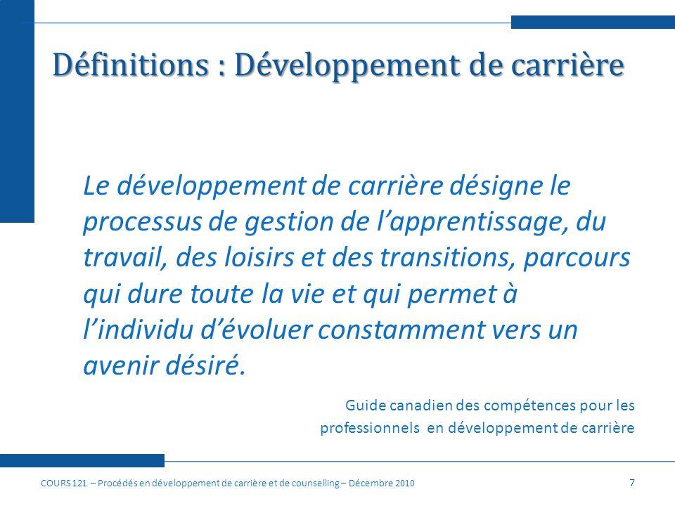 Définitions : Développement de carrière Le développement de carrière désigne le processus de gestion de lapprentissage, du travail, des loisirs et des