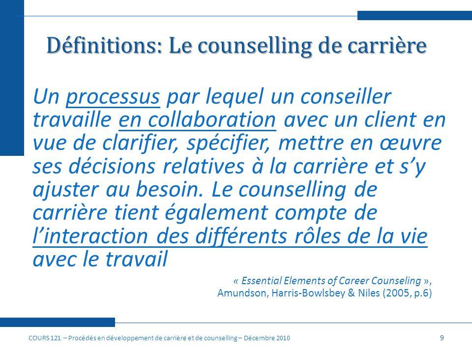 Définitions: Le counselling de carrière Un processus par lequel un conseiller travaille en collaboration avec un client en vue de clarifier, spécifier