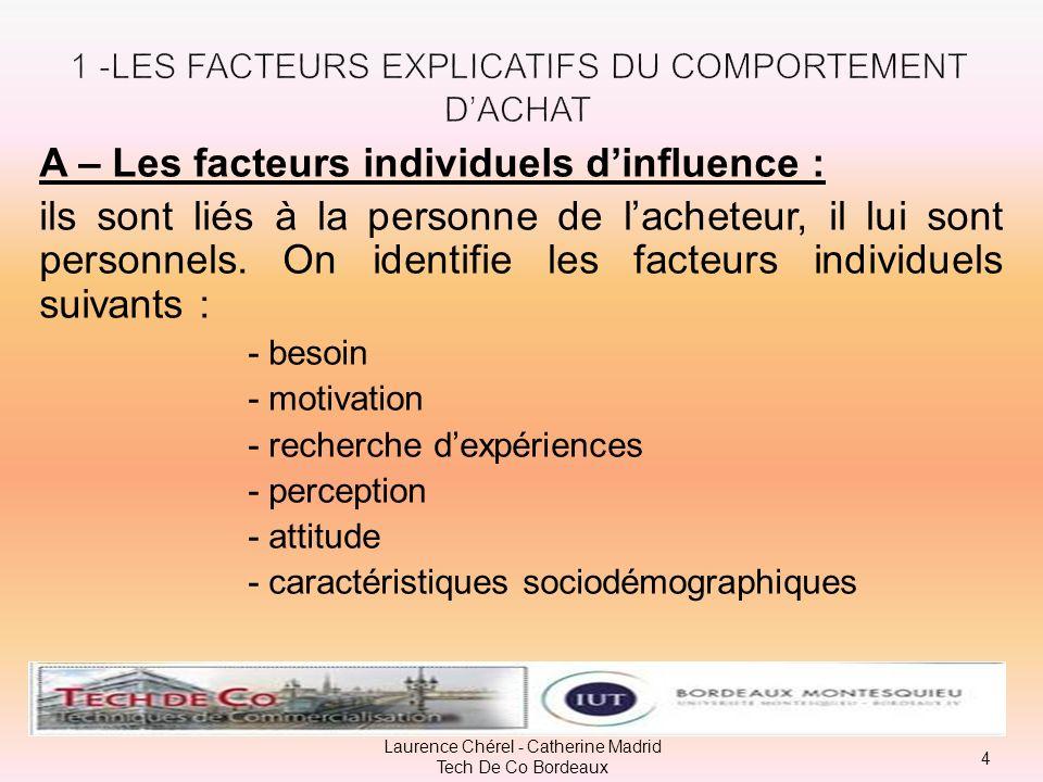 A – Les facteurs individuels dinfluence : ils sont liés à la personne de lacheteur, il lui sont personnels.