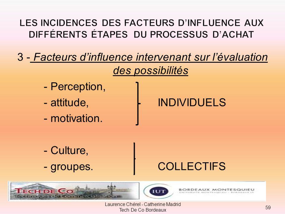 2 - Facteurs dinfluence intervenant sur la recherche dinformations - Perception, - attitude. INDIVIDUELS - groupes, COLLECTIFS - famille 58 Laurence C