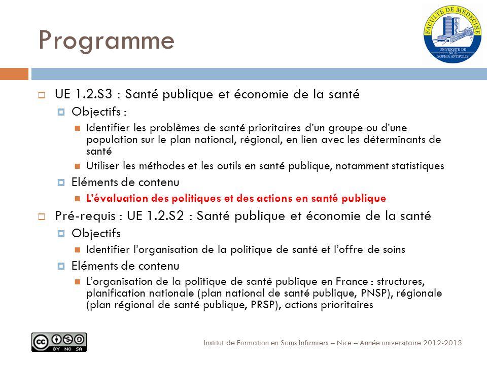 Le premier cadre légal Institut de Formation en Soins Infirmiers – Nice – Année universitaire 2012-2013 La loi du 9 août 2004 relative à la politique de santé publique a instauré une démarche structurée pour la définition, la conduite et lévaluation des politiques de santé en France.