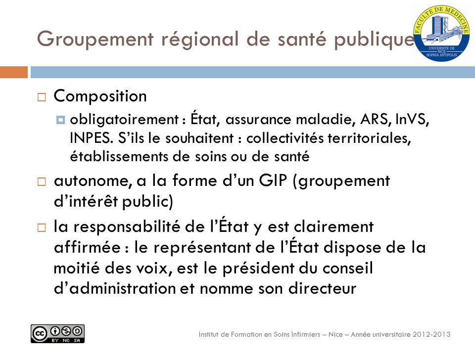 Groupement régional de santé publique Composition obligatoirement : État, assurance maladie, ARS, InVS, INPES.