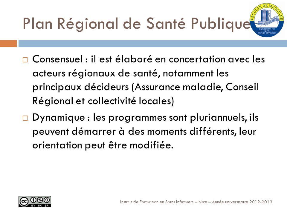 Plan Régional de Santé Publique Consensuel : il est élaboré en concertation avec les acteurs régionaux de santé, notamment les principaux décideurs (Assurance maladie, Conseil Régional et collectivité locales) Dynamique : les programmes sont pluriannuels, ils peuvent démarrer à des moments différents, leur orientation peut être modifiée.