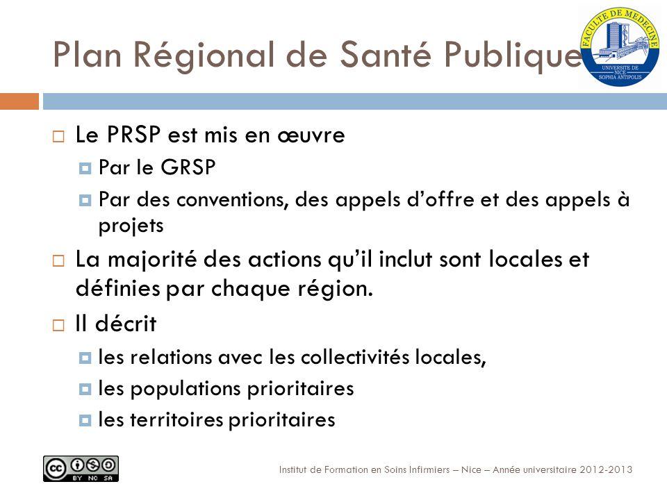 Plan Régional de Santé Publique Le PRSP est mis en œuvre Par le GRSP Par des conventions, des appels doffre et des appels à projets La majorité des actions quil inclut sont locales et définies par chaque région.