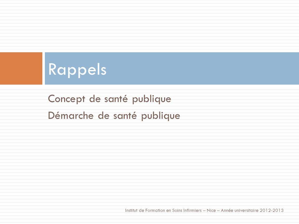 Concept de santé publique Démarche de santé publique Rappels Institut de Formation en Soins Infirmiers – Nice – Année universitaire 2012-2013