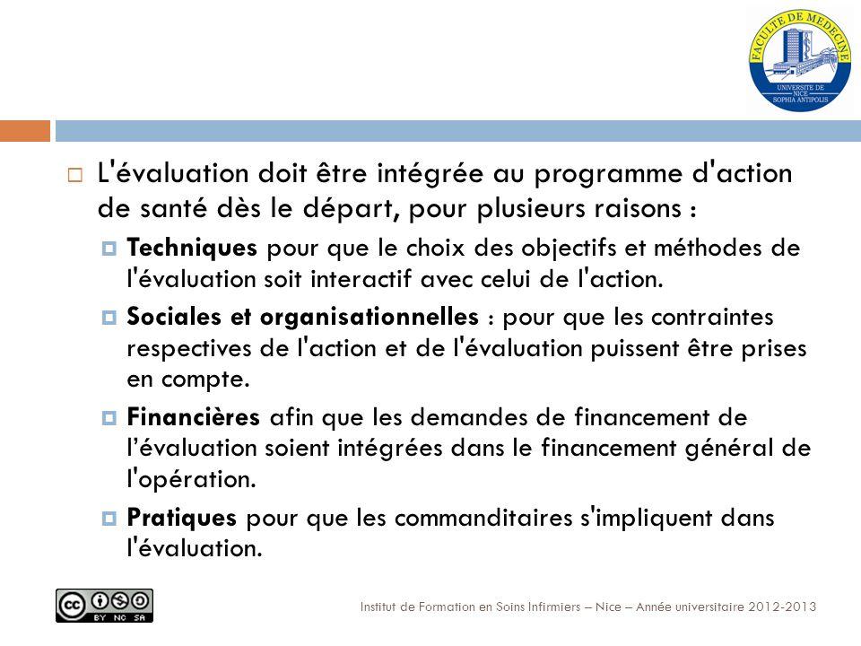 Institut de Formation en Soins Infirmiers – Nice – Année universitaire 2012-2013 L évaluation doit être intégrée au programme d action de santé dès le départ, pour plusieurs raisons : Techniques pour que le choix des objectifs et méthodes de l évaluation soit interactif avec celui de l action.