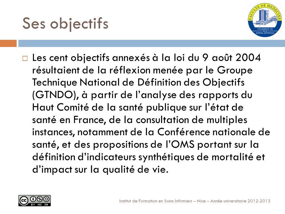 Ses objectifs Institut de Formation en Soins Infirmiers – Nice – Année universitaire 2012-2013 Les cent objectifs annexés à la loi du 9 août 2004 résultaient de la réflexion menée par le Groupe Technique National de Définition des Objectifs (GTNDO), à partir de lanalyse des rapports du Haut Comité de la santé publique sur létat de santé en France, de la consultation de multiples instances, notamment de la Conférence nationale de santé, et des propositions de lOMS portant sur la définition dindicateurs synthétiques de mortalité et dimpact sur la qualité de vie.