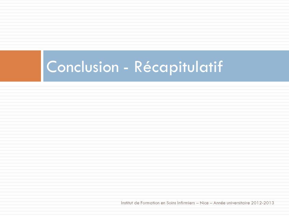 Conclusion - Récapitulatif Institut de Formation en Soins Infirmiers – Nice – Année universitaire 2012-2013