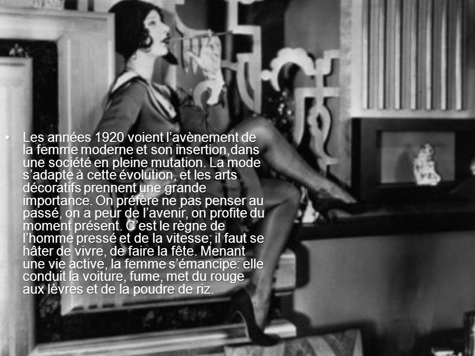 Les années 1920 voient lavènement de la femme moderne et son insertion,dans une société en pleine mutation. La mode sadapte à cette évolution, et les
