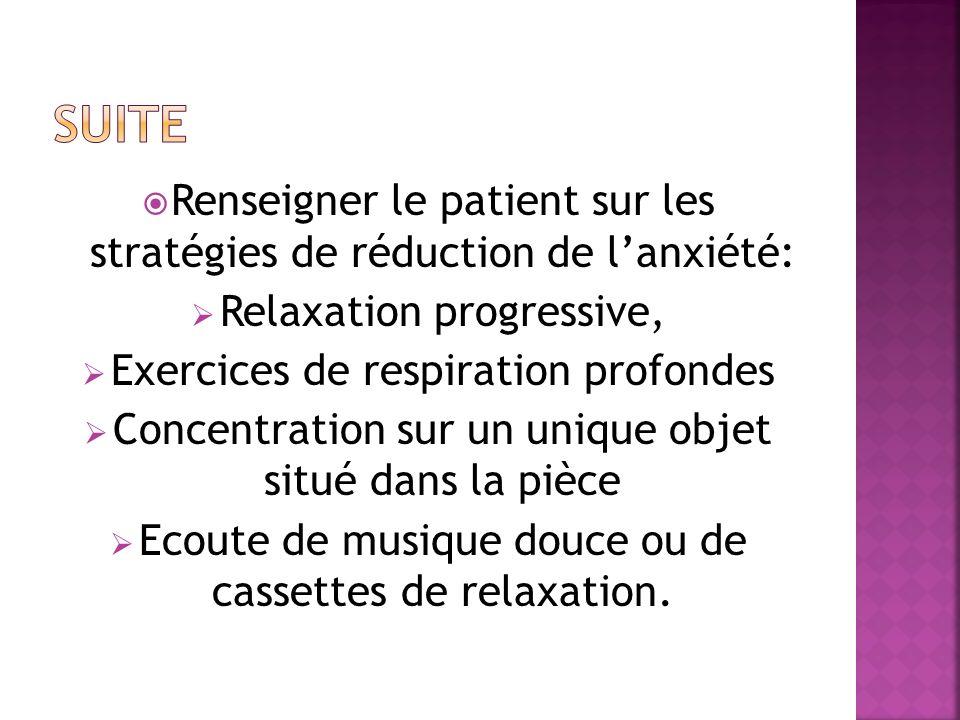 Renseigner le patient sur les stratégies de réduction de lanxiété: Relaxation progressive, Exercices de respiration profondes Concentration sur un uni