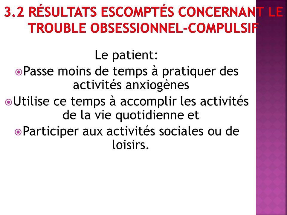 Le patient: Passe moins de temps à pratiquer des activités anxiogènes Utilise ce temps à accomplir les activités de la vie quotidienne et Participer a