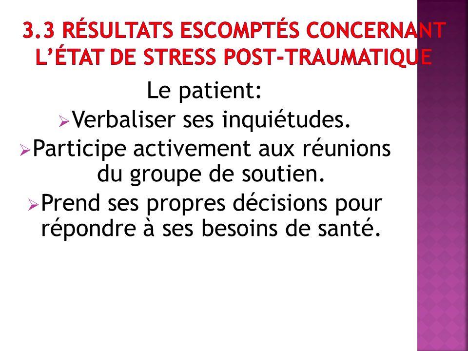Le patient: Verbaliser ses inquiétudes. Participe activement aux réunions du groupe de soutien. Prend ses propres décisions pour répondre à ses besoin