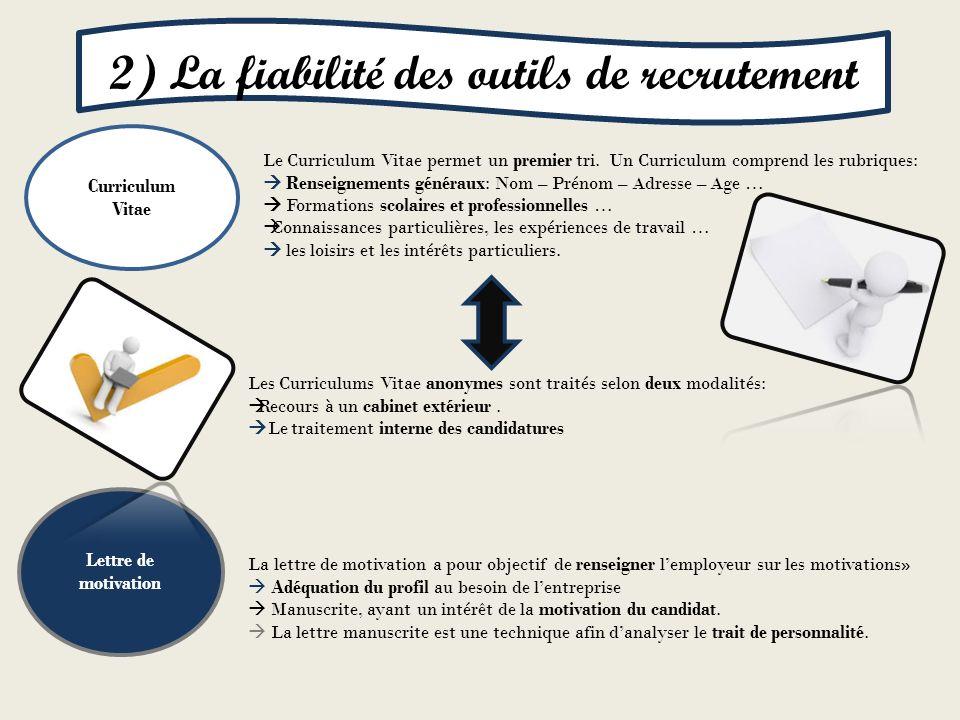 Curriculum Vitae Lettre de motivation Le Curriculum Vitae permet un premier tri. Un Curriculum comprend les rubriques: Renseignements généraux: Nom –