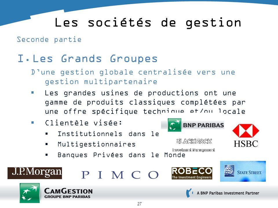 27 Les sociétés de gestion Seconde partie I.Les Grands Groupes Dune gestion globale centralisée vers une gestion multipartenaire Les grandes usines de