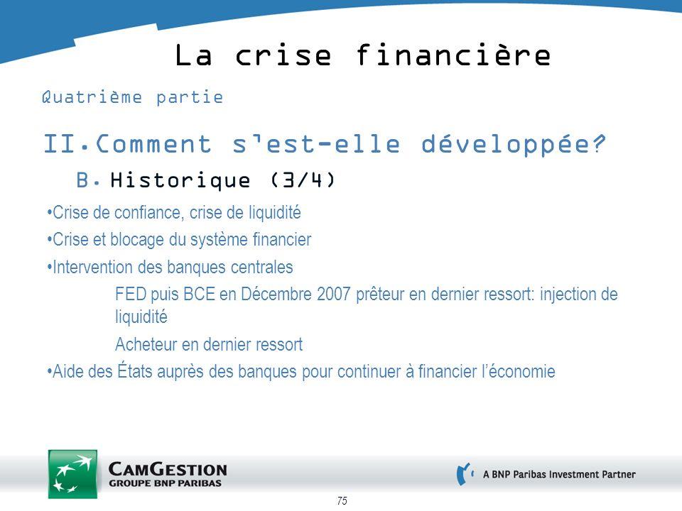 75 La crise financière Quatrième partie II.Comment sest-elle développée? B.Historique (3/4) Crise de confiance, crise de liquidité Crise et blocage du