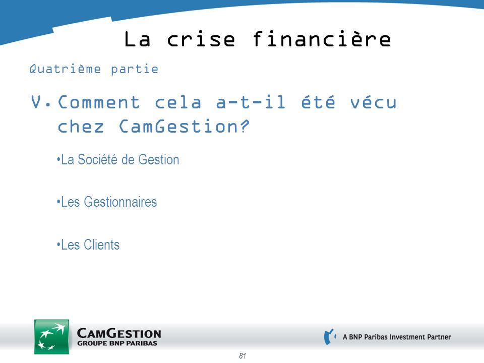 81 La crise financière Quatrième partie V.Comment cela a-t-il été vécu chez CamGestion? La Société de Gestion Les Gestionnaires Les Clients