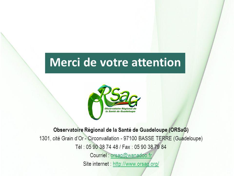 Observatoire Régional de la Santé de Guadeloupe (ORSaG) 1301, cité Grain dOr - Circonvallation - 97100 BASSE TERRE (Guadeloupe) Tél : 05 90 38 74 48 / Fax : 05 90 38 79 84 Courriel : orsag@wanadoo.fr Site internet : http://www.orsag.org/ Merci de votre attention