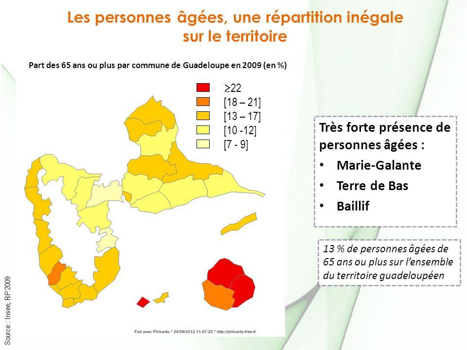 Les personnes âgées, une répartition inégale sur le territoire Source : Insee, RP 2009 22 [18 – 21] [13 – 17] [10 -12] [7 - 9] Part des 65 ans ou plus