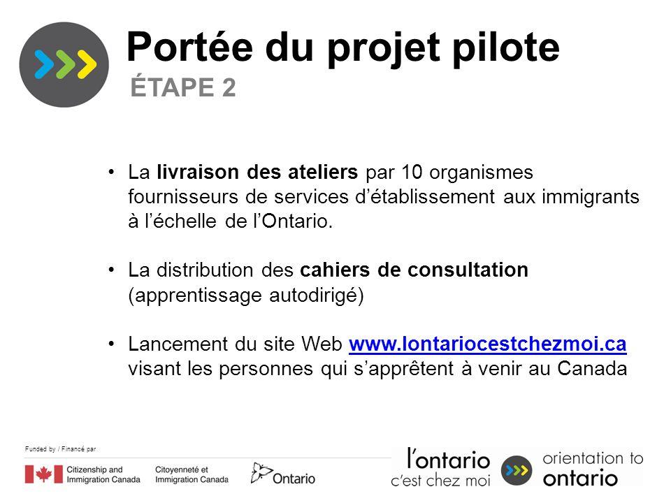 Funded by / Financé par Portée du projet pilote ÉTAPE 2 La livraison des ateliers par 10 organismes fournisseurs de services détablissement aux immigrants à léchelle de lOntario.