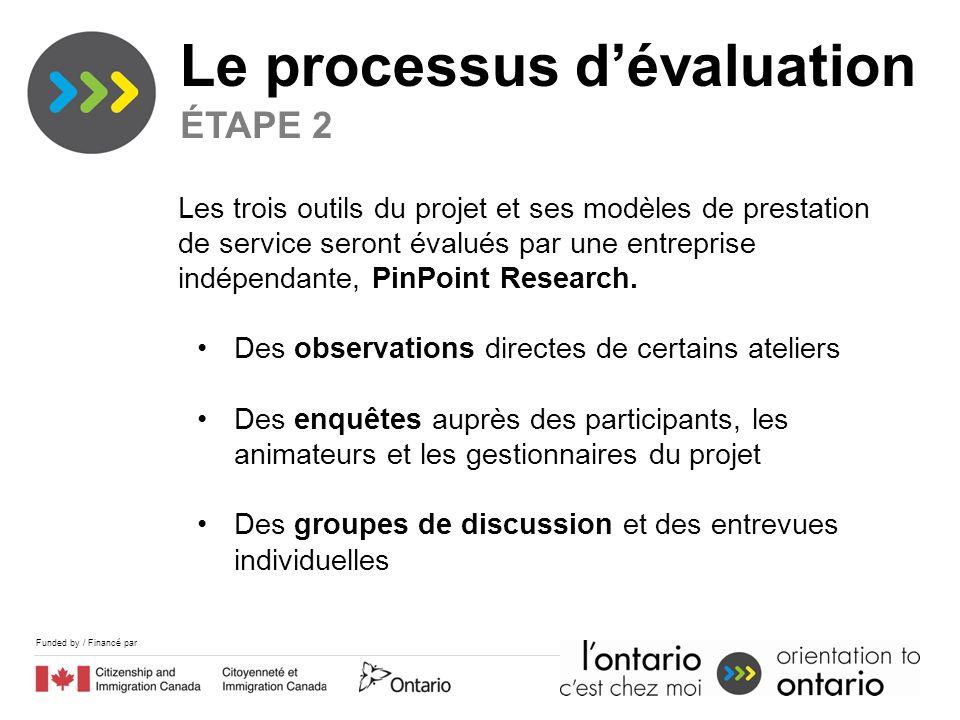Funded by / Financé par Le processus dévaluation ÉTAPE 2 Les trois outils du projet et ses modèles de prestation de service seront évalués par une entreprise indépendante, PinPoint Research.