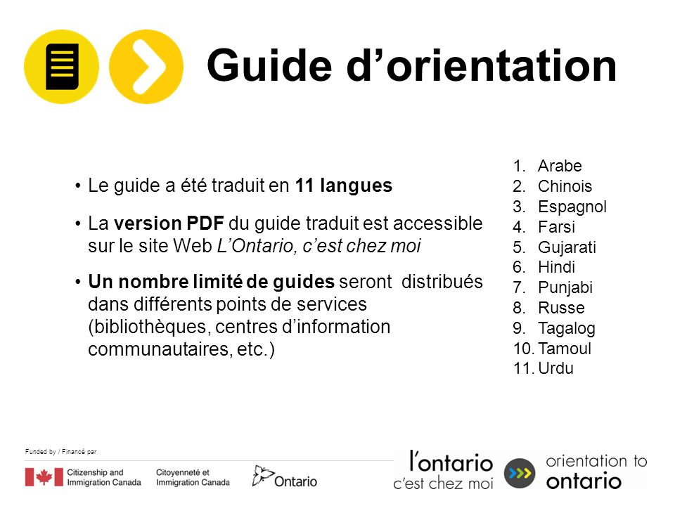 Funded by / Financé par Le guide a été traduit en 11 langues La version PDF du guide traduit est accessible sur le site Web LOntario, cest chez moi Un nombre limité de guides seront distribués dans différents points de services (bibliothèques, centres dinformation communautaires, etc.) 1.Arabe 2.Chinois 3.Espagnol 4.Farsi 5.Gujarati 6.Hindi 7.Punjabi 8.Russe 9.Tagalog 10.Tamoul 11.Urdu Guide dorientation