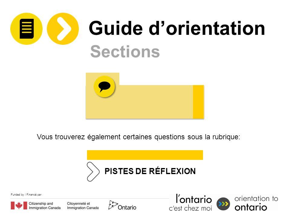 Funded by / Financé par Sections PISTES DE RÉFLEXION Vous trouverez également certaines questions sous la rubrique: Guide dorientation
