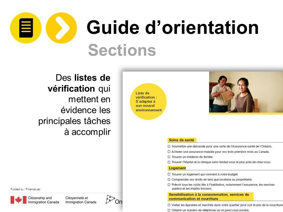 Funded by / Financé par Des listes de vérification qui mettent en évidence les principales tâches à accomplir Sections Guide dorientation