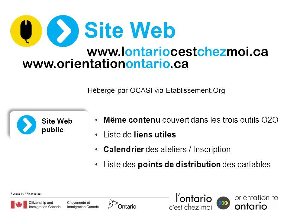 Hébergé par OCASI via Etablissement.Org Même contenu couvert dans les trois outils O2O Liste de liens utiles Calendrier des ateliers / Inscription Liste des points de distribution des cartables Site Web public Site Web www.orientationontario.ca www.lontariocestchezmoi.ca