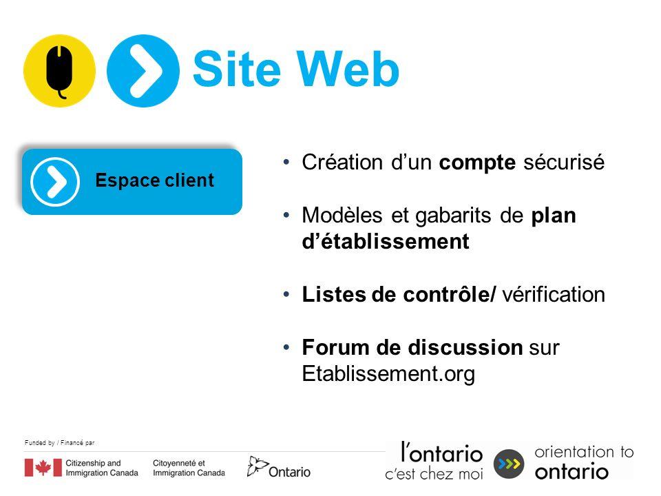 Funded by / Financé par Espace client Création dun compte sécurisé Modèles et gabarits de plan détablissement Listes de contrôle/ vérification Forum d