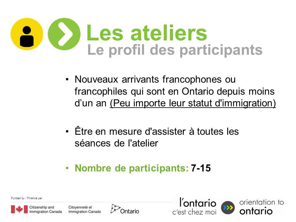 Funded by / Financé par Nouveaux arrivants francophones ou francophiles qui sont en Ontario depuis moins dun an (Peu importe leur statut d'immigration