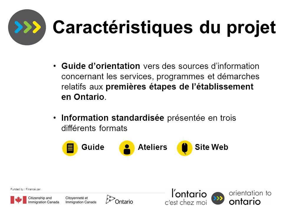 Funded by / Financé par Caractéristiques du projet Guide dorientation vers des sources dinformation concernant les services, programmes et démarches relatifs aux premières étapes de létablissement en Ontario.