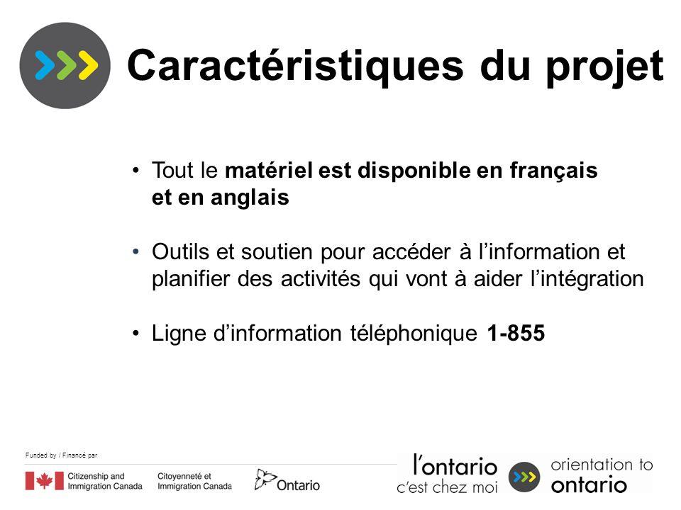 Funded by / Financé par Tout le matériel est disponible en français et en anglais Outils et soutien pour accéder à linformation et planifier des activités qui vont à aider lintégration Ligne dinformation téléphonique 1-855 Caractéristiques du projet