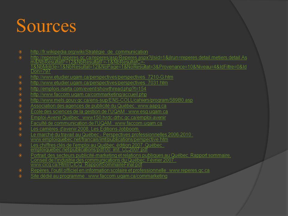 Sources http://fr.wikipedia.org/wiki/Stratégie_de_communication http://reperes8.reperes.qc.ca/reperes/asp/Reperes.aspx?jlsid=1&jlrun=reperes.detail.me