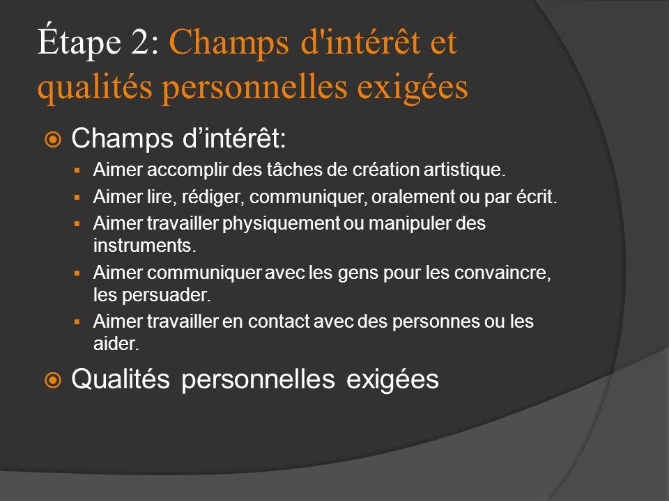Étape 2: Champs d'intérêt et qualités personnelles exigées Champs dintérêt: Aimer accomplir des tâches de création artistique. Aimer lire, rédiger, co