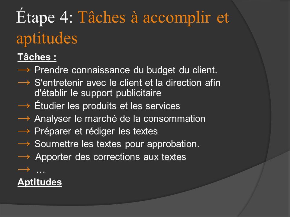 Étape 4: Tâches à accomplir et aptitudes Tâches : Prendre connaissance du budget du client. S'entretenir avec le client et la direction afin d'établir