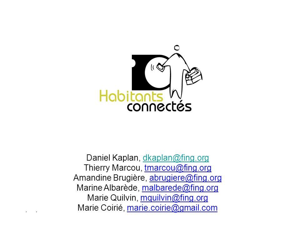 Daniel Kaplan, dkaplan@fing.orgdkaplan@fing.org Thierry Marcou, tmarcou@fing.org Amandine Brugière, abrugiere@fing.org Marine Albarède, malbarede@fing.org Marie Quilvin, mquilvin@fing.org Marie Coirié, marie.coirie@gmail.com