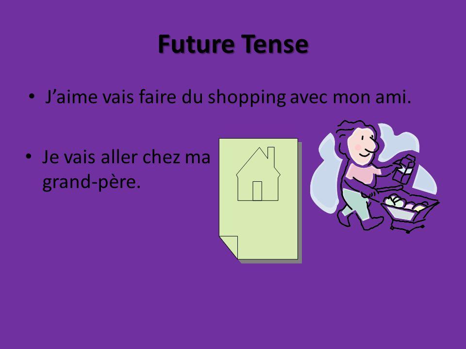 Future Tense Jaime vais faire du shopping avec mon ami. Je vais aller chez ma grand-père.