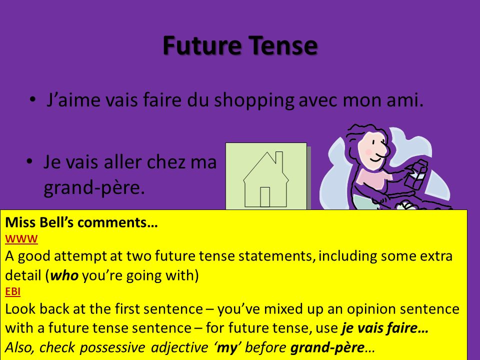 Future Tense Jaime vais faire du shopping avec mon ami. Je vais aller chez ma grand-père. Miss Bells comments… WWW A good attempt at two future tense